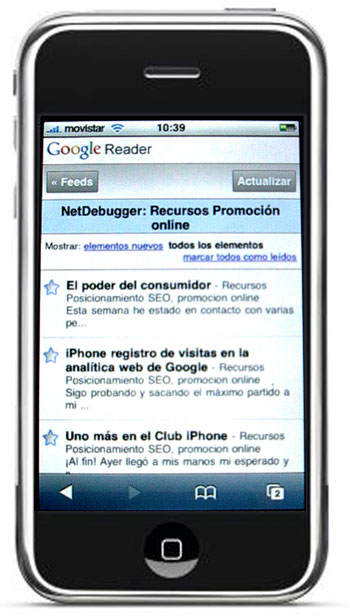 iPhone Google Reader lector de feeds RSS
